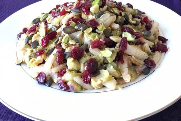 Shredded Brussels Sprouts & Pear Salad w/ Creamy Roasted Garlic Dressing Salad Recipe