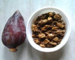 Banana Flower Cooked w/ Paneer Cooking Recipe