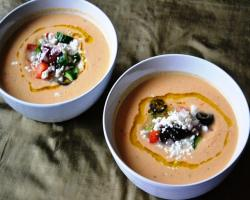 chickpea vegetable tahini soup