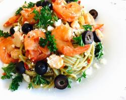 Greek style Spinach Pasta w/ Shrimp & Hearts of Palm Cooking Recipe