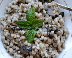 Microwave Mushroom Barley Risotto Cooking Recipe