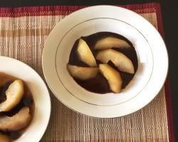 Sake Poached Pears w/ Wasabi Chocolate Sauce Cooking Recipe