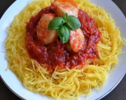 Spaghetti Squash & Scallops in Marinara Sauce Cooking Recipe
