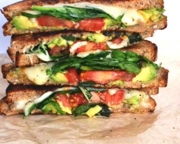 Caprese-style Grilled Cheese Sandwich w/ Avocado Recipe
