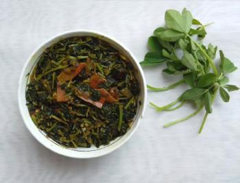 Fenugreek leaves w/ brinjal recipe