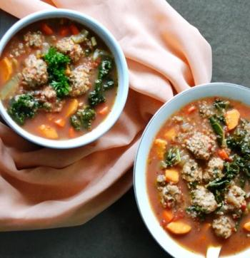 Meatball Soup w/ Quinoa, Kale & Root Vegetables  Cooking Recipe