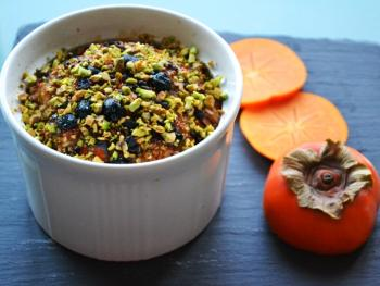 Oats Brulee w/ Persimmon & Cranberries Cooking Recipe