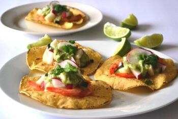 Grilled Shrimp Tostada w/ Avocado Dressing Cooking Recipe