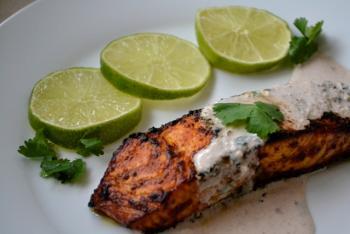 Quick Tandoori Salmon w/ Walnut Yogurt Sauce Cooking Recipe