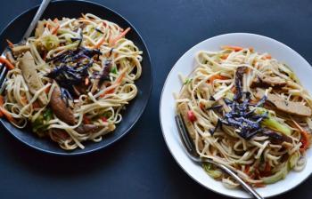Vegetable Yaki Udon with Seitan Cooking Recipe