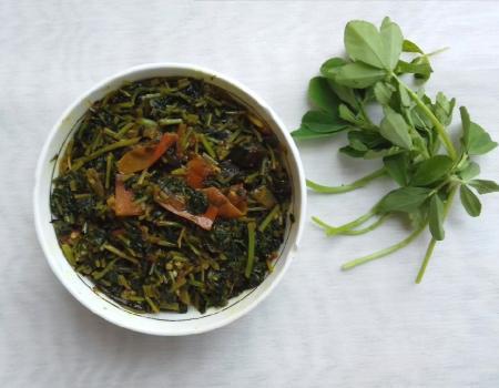 Fenugreek leaves w/ brinjal recipe