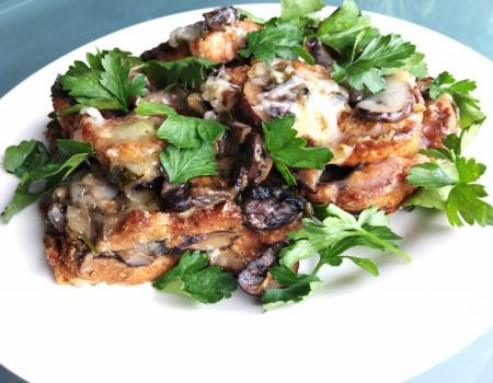 Triple Mushroom Bread Pudding Cooking Recipe