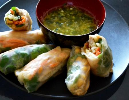 Pork Rolls w/ Ginger Scallion Dipping Sauce Cooking Recipe