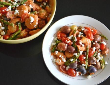 Shrimp & Asparagus Potato Salad w/ Roasted Red Pepper Goat Cheese Dressing Cooking Recipe