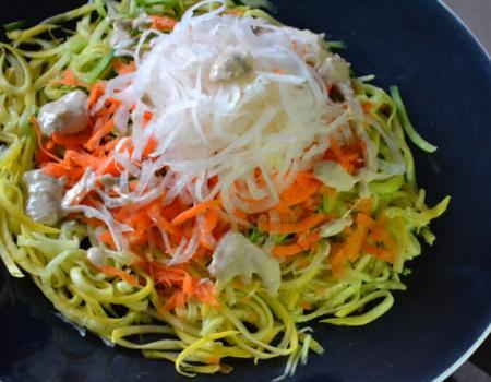 Veggie Noodle Salad w/ Tahini Dressing Recipe